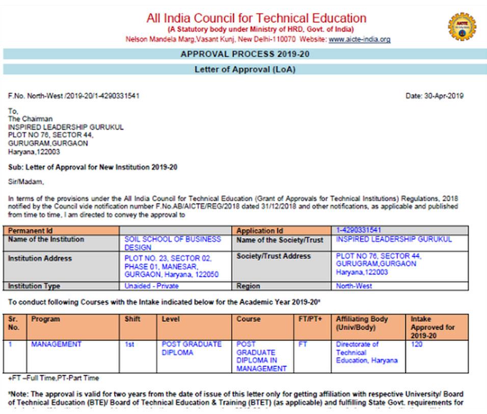AICTE Approval 2019